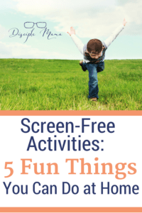 A boy in a grassy field with text beneath - Screen-Free Activities: 5 Fun Things You Can Do at Home