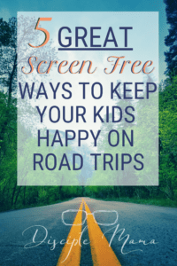 Road with text: 5 Great Screen-free ways to keep you kids happy on road trips | Disciple Mama