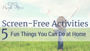 Boy playing in a grassy field with text overlay - Screen-Free Activities: 5 Fun Things You Can Do at Home