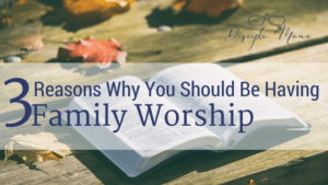 An open Bible on wood planks with scattered autumn leaves, text: 3 Reasons Why You Should Be Having Family Worship-Disciple Mama