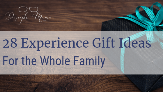 Gift box with ribbon with text overlay: 28 Experience Gift Ideas for the Whole Family