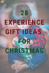 Boy opening a Christmas gift with text overlay: 28 Experience Gift Ideas for Christmas | Disciple Mama