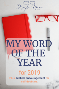 bullet journal, glasses, and a pen on white marble with text: My world of the year for 2019 | Disciple Mama