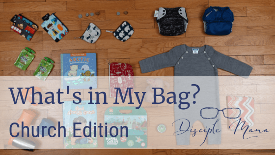 various children's items from church bag on the floor with text overlay: What's in my Bag? Church Edition | Disciple Mama