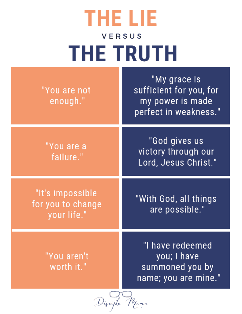 The Lie versus The Truth infographic | Disciple Mama