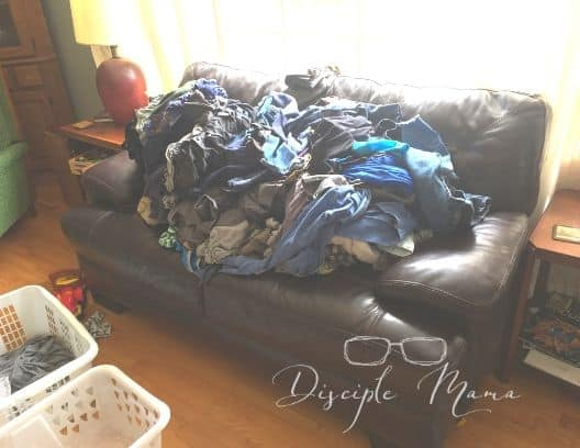 Pile of unfolded laundry Diligence is my word of the year | Disciple Mama