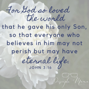 For God so loved the world that he have his only Son so that everyone who believes in him may not perish but may have eternal life. John 3:16 |Disciple Mama|